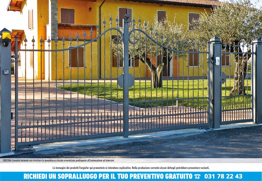 Cancello scorrevole in ferro battuto monoblocco cristina for Cancello scorrevole monoblocco